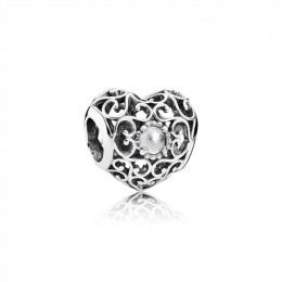 Pandora Jewelry April Signature Heart Charm-Rock Crystal 791784RC