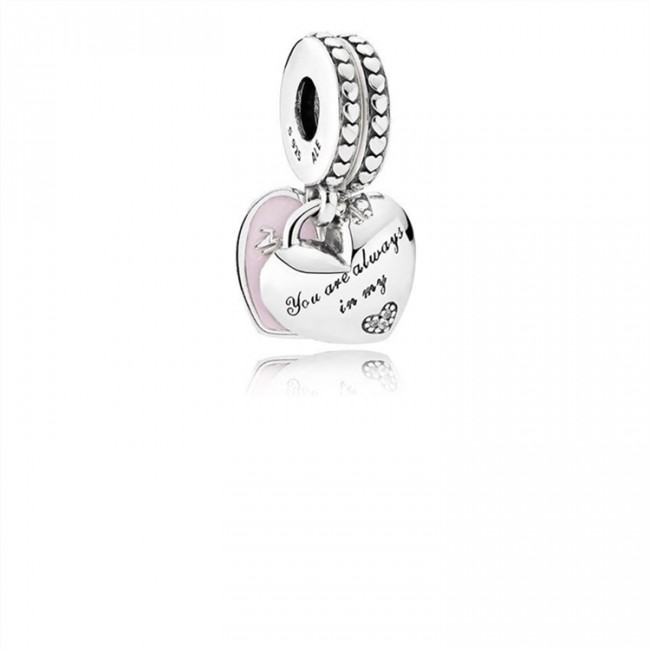 Pandora Jewelry Mother & Daughter Hearts Dangle Charm-Soft Pink Enamel & Clear CZ