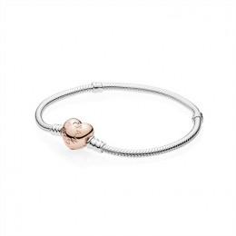 Pandora Jewelry Sterling Silver Bracelet w Rose Heart Clasp 580719