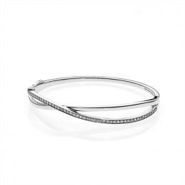 Pandora Jewelry Entwined Bangle Bracelet-Clear CZ 590533CZ