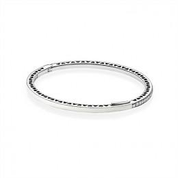 Radiant Hearts of Pandora Jewelry Bangle Bracelet-Silver Enamel & Clear CZ