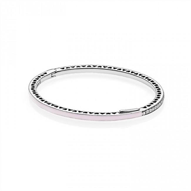 Radiant Hearts of Pandora Jewelry Bangle Bracelet-Light Pink Enamel & Clear CZ