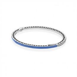 Radiant Hearts of Pandora Jewelry Bangle Bracelet-Princess Blue Enamel & Clear CZ