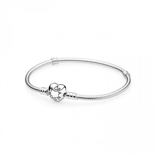 Pandora Jewelry Silver Charm Bracelet with Heart Clasp 590719