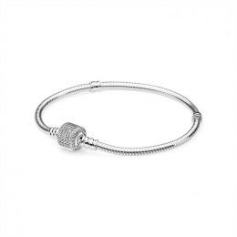 Pandora Jewelry Sterling Silver Bracelet w Signature Clasp-Clear CZ 590723CZ