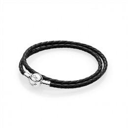 Pandora Jewelry Moments Single Woven Leather Bracelet-Black 590745CBK-D
