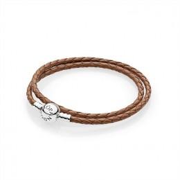 Pandora Jewelry Brown Braided Double-Leather Charm Bracelet 590745CBN