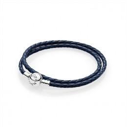 Pandora Jewelry Dark Blue Braided Double-Leather Charm Bracelet 590745CD