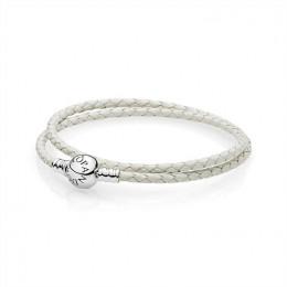 Pandora Jewelry Ivory White Braided Double-Leather Charm Bracelet 590745CIW-D