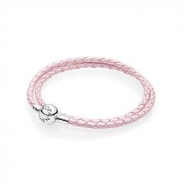Pandora Jewelry Pink Braided Double-Leather Charm Bracelet 590705CMP-D