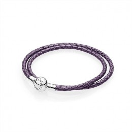 Pandora Jewelry Purple Braided Double-Leather Charm Bracelet 590745CPE-D
