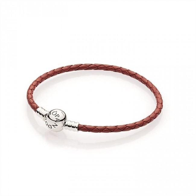 Pandora Jewelry Red Braided Leather Charm Bracelet 590745CRD-S
