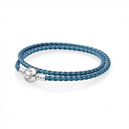Pandora Jewelry Mixed Blue Woven Double-Leather Charm Bracelet 590747CBMX-D