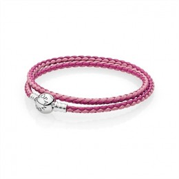 Pandora Jewelry Mixed Pink Woven Double-Leather Charm Bracelet 590747CPMX-D