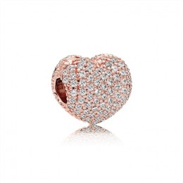 Pandora Jewelry Pave Open My Heart Clip-Pandora Jewelry Rose & Clear CZ 781427CZ