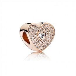 Pandora Jewelry Sweetheart Charm-Pandora Jewelry Rose & Clear CZ 781555CZ