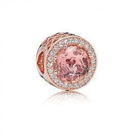 Pandora Jewelry Radiant Hearts Charm-Pandora Jewelry Rose-Blush Pink Crystal & Clear CZ