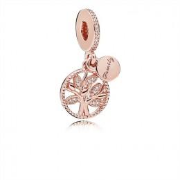 Pandora Jewelry Family Heritage Dangle Charm-Pandora Jewelry Rose & Clear CZ 781728CZ