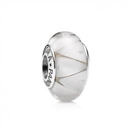 Pandora Jewelry White Looking Glass Charm-Murano Glass 790921