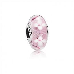 Pandora Jewelry Field of Flowers Pink Murano Glass Charm 791665