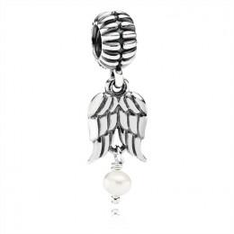 Pandora Jewelry Angel Wings Silver & Pearl Hanging Charm-790975P