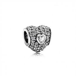 Pandora Jewelry In My Heart Charm-Clear CZ 791168CZ
