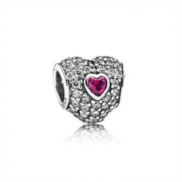 Pandora Jewelry In My Heart Charm-Clear CZ & Synthetic Ruby 791168SRU