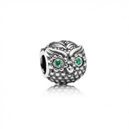 Pandora Jewelry Wise Owl Charm-Dark Green CZ 791211CZN