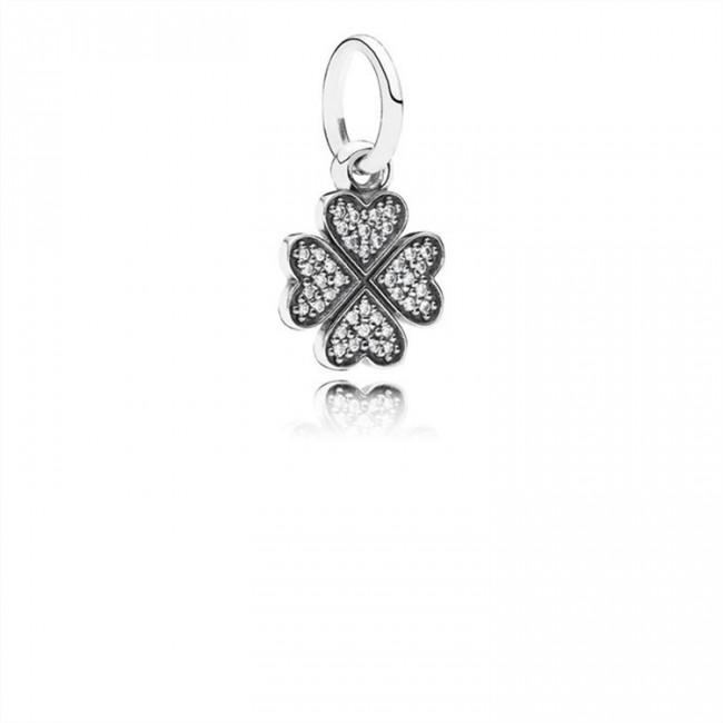 Pandora Jewelry Sparkling Lucky Clover Pendant Charm 791309CZ