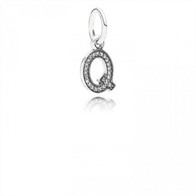 Pandora Jewelry Letter Q Dangle Charm-Clear CZ 791329CZ