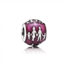 Pandora Jewelry Family Silhouette Charm-Transparent Fuchsia Enamel 791399EN62