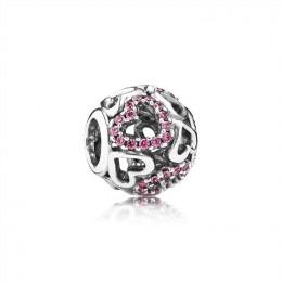 Pandora Jewelry Fancy Pink Falling in Love Openwork Charm 791424CZS