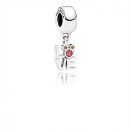 Pandora Jewelry Disney Mickey LOVE silver dangle with red cubic zirconia 791448CZR