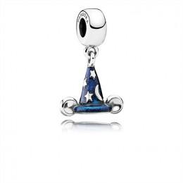 Pandora Jewelry Disney Mickey sorcerer hat silver dangle with blue enamel 791466EN64