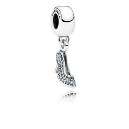 Pandora Jewelry Disney-Cinderella Sparkling Slipper Dangle Charm-Fancy Light Blue CZ