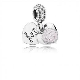 Pandora Jewelry Mother's Rose-Pink Enamel & CLear CZ 791528EN40