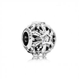 Pandora Jewelry Disney Frozen Snowflake Openwork Silver Charm With Cubic Zirconia