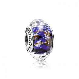 Pandora Jewelry Abstract faceted fritt silver charm with blue-white and brown