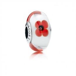 Pandora Jewelry Red and White Flowers Murano Charm 791636