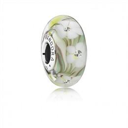 Pandora Jewelry Wild Flowers Charm-Murano Glass & Clear CZ 791638CZ
