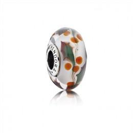 Pandora Jewelry Christmas Holly Charm-Murano Glass 791647
