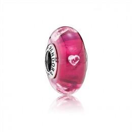 Pandora Jewelry Cerise Heart Charm-Murano Glass & Clear CZ 791664PCZ