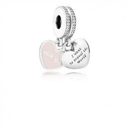 Pandora Jewelry Travel Together Forever Dangle Charm-Pink Enamel & Clear CZ 791717CZ