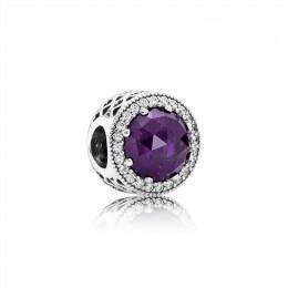 Pandora Jewelry Radiant Hearts Charm-Royal-Purple Crystal & Clear CZ 791725NRP