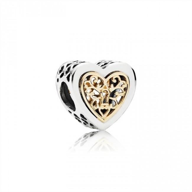Pandora Jewelry Heart silver charm with 14k pattern 791740
