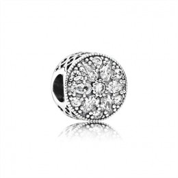 Pandora Jewelry Abstract silver charm with clear cubic zirconia 791762CZ