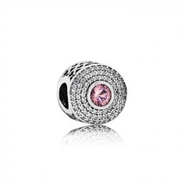 Pandora Jewelry Abstract Silver Charm With Blush Pink Crystal And Clear Cubic Zirconia