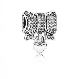 Pandora Jewelry Bow silver charm with clear cubic zirconia and heart 791776CZ