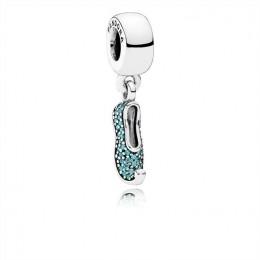 Pandora Jewelry Disney-Jasmine's Sparkling Slipper Dangle Charm-Teal CZ 791790MCZ