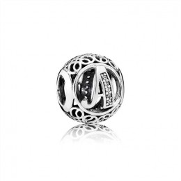Pandora Jewelry Letter A silver charm with clear cubic zirconia 791845CZ